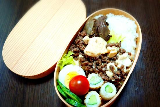 きょうのおべんとう「合い挽き肉と豆腐のそぼろ煮」
