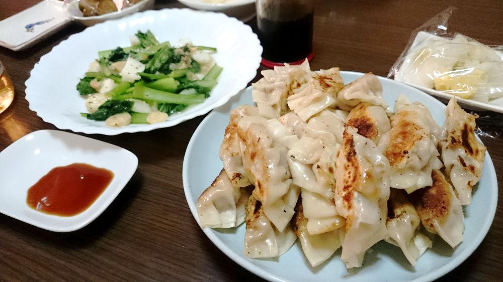 きょうの夕飯「焼き餃子」