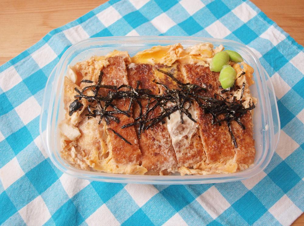 きょうのおべんとう「豆腐カツの卵とじ丼」