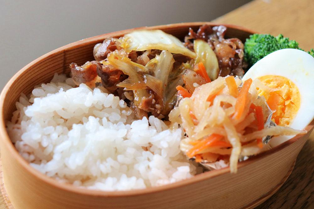 きょうのおべんとう「牛肉と白菜の甘辛炒め」